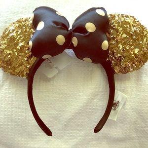 Gold and black polka dot Minnie Ears